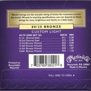 Martin Acoustic Guitar Strings 80/20 Bronze - Custom Light .011 - .052 (M175)